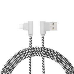 Delight 55444C adatkábel USB-C - USB-A 90°, fekete-fehér