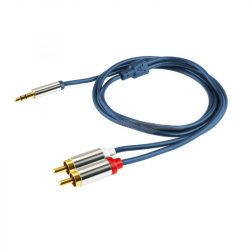 Home A49-1M 3,5mm sztereó Jack - 2 RCA kábel, 1m