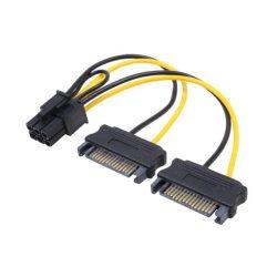 Fordító táp PCIE 6pin - SATA 15pin Gembird