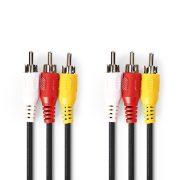Nedis CVGP24300BK20 3 RCA - 3 RCA kábel, 1,5m