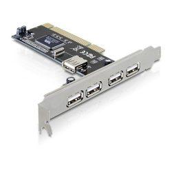 DeLock 4x külső USB2.0 1x belső USB2.0 PCI bővítőkártya