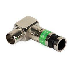Kompressziós Koax könyök dugó 90 F IEC 113 Triset-113 kábelhez