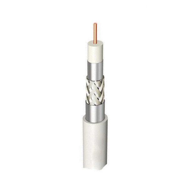 Amiko RG6W100CCS65 koax kábel, Trishield, fehér