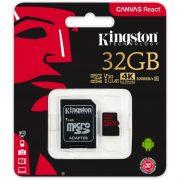 Kingston 32GB memóriakártya Canvas React microSD+adapter