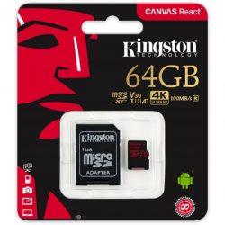 Kingston 64GB microSD Canvas React memóriakártya+adapter