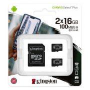 Kingston 16GB microSD+adapter Canvas Select Plus memóriakártya