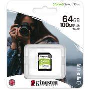 Kingston 64GB microSD+adapter Canvas Select Plus memóriakártya