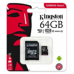Kingston 64GB CANVAS 80MB/s microSD kártya + adapter