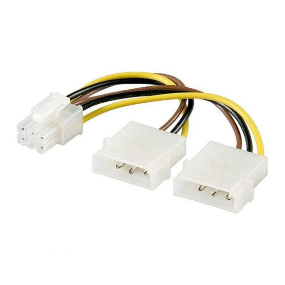 Tápkábel PCIE Molex VGA-hoz 6pin 15cm 4World