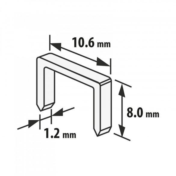 Handy tűzőgép kapocs - 1,2 x 10,6 x 8 mm - 1000 db
