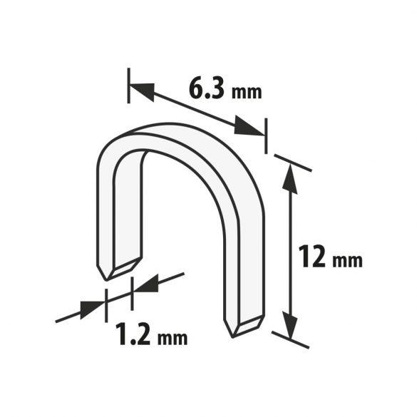 Handy tűzőgép kapocs - 1,2 x 6,3 x 12 mm - 1000 db
