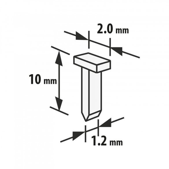 Handy tűzőgép kapocs - 1,2 x 2 x 10 mm - 2000 db