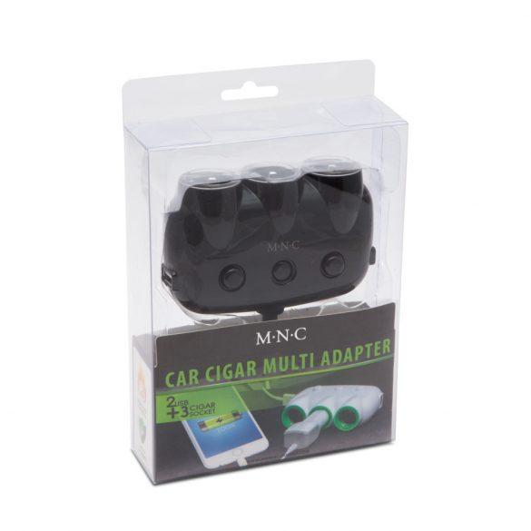 M.N.C szivargyújtó elosztó 3-as + USB