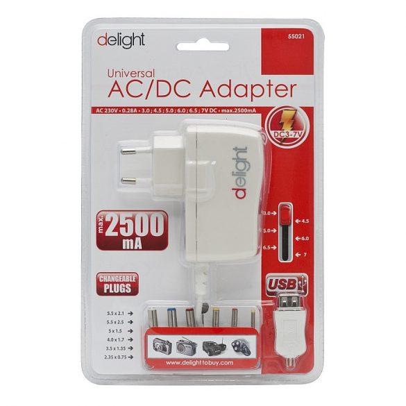 DeLight AC/DC adapter 230V/3-7V 2,5A