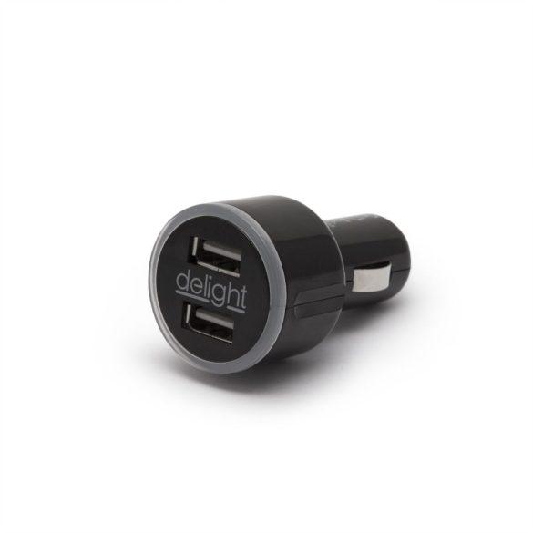 Delight dupla szivargyújtós USB adapter, 12-24V/5V 2,1A