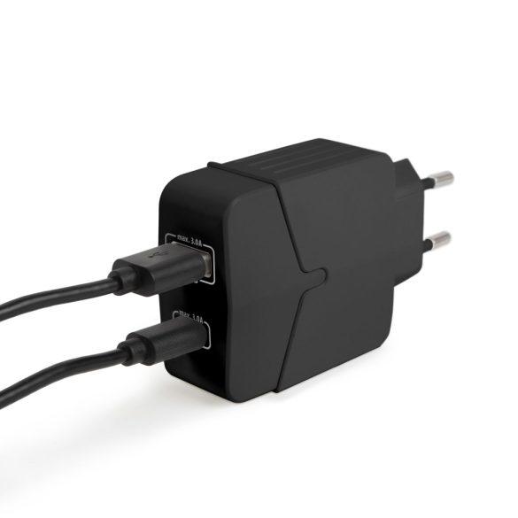DeLight USB 3.0 + Type C gyorstöltő adapter, 3A, 18W