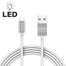 DeLight USB Type C adatkábel, LED fénnyel, 1m