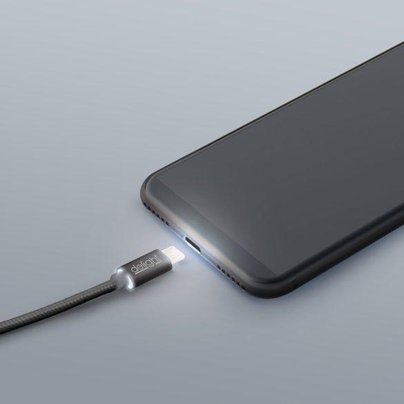 DeLight microUSB adatkábel, LED fénnyel, 1m