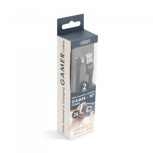 Delight 55444M adatkábel Micro USB - USB-A 90°, fekete, 2m
