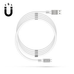 Delight micro USB kábel mágneses kábelrögzítővel, fehér, 1,2m