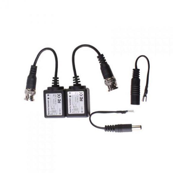 BNC - UTP passzív transmitter táp csatlakozóval