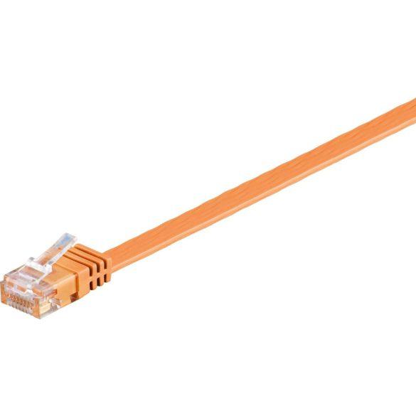Goobay 96397 UTP cat6 lapos Patch kábel, 0,5m, narancs