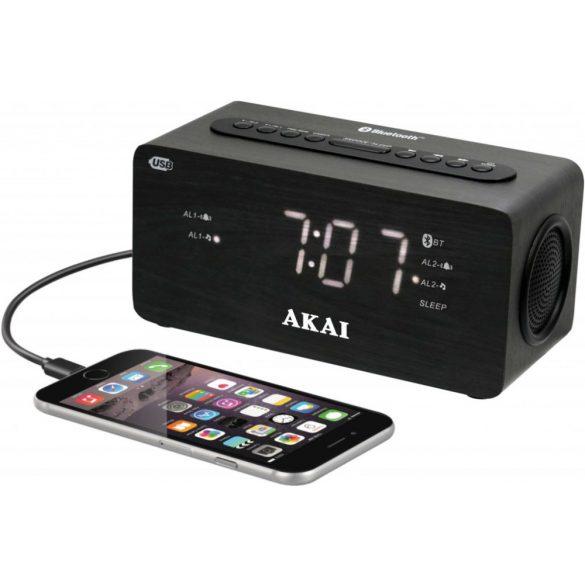 Akai ACR2993 Bluetooth órás rádió USB töltővel