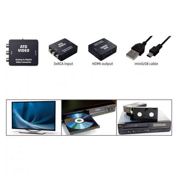 Home ATD VIDEO analóg-digitális konverter RCA-HDMI