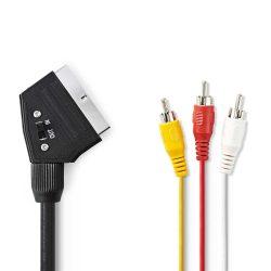 Nedis CVGP31130BK10 Scart - 3RCA kábel kapcsolóval, 1m