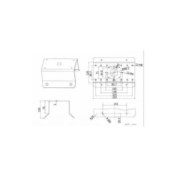 Hikvision DS-1276ZJ sarokadapter fali tartókonzolhoz