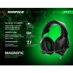 Rampage RM-K7 Magnific 7.1 fejhallgató fekete-zöld