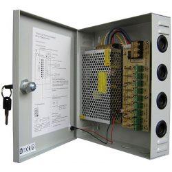 Sunwor SCPS-1205-9 12V, 10A, 9 csatornás CCTV tápegység