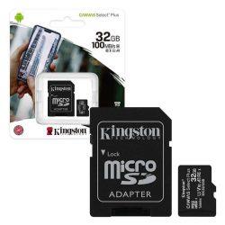 Kingston 32GB microSD Canvas Select Plus memóriakártya+adapter